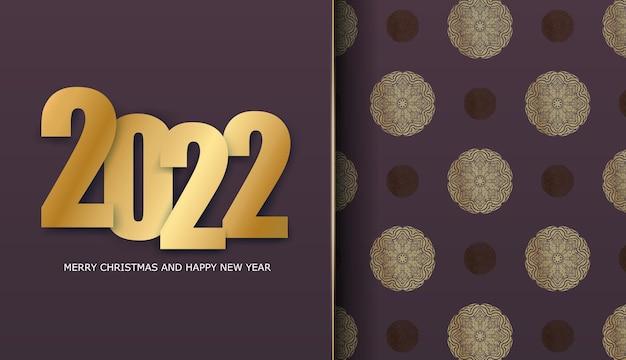 Volantino per le vacanze 2022 felice anno nuovo colore bordeaux con motivo oro vintage