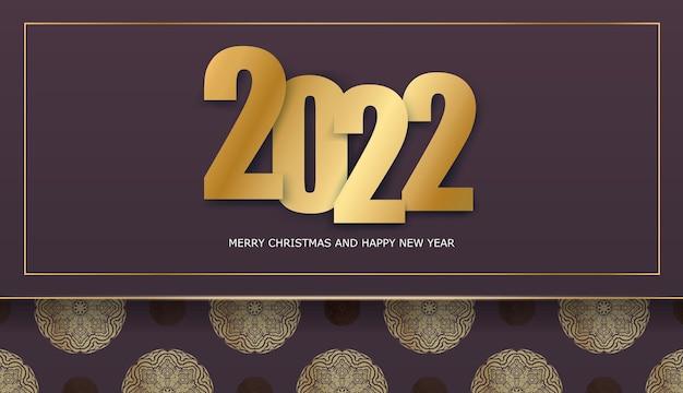 Holiday flyer 2022 buon natale color bordeaux con motivo dorato astratto