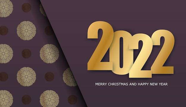Holiday flyer 2022 buon natale color bordeaux con motivo dorato di lusso