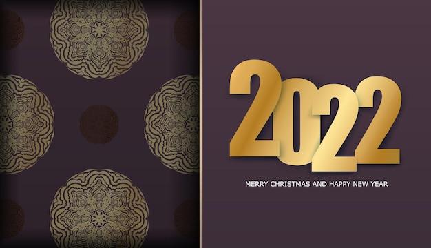 Holiday flyer 2022 buon natale color bordeaux con ornamenti vintage in oro