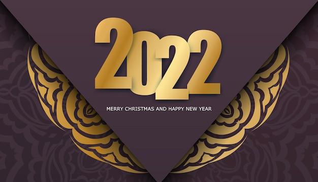 Holiday flyer 2022 buon natale color bordeaux con motivo vintage oro