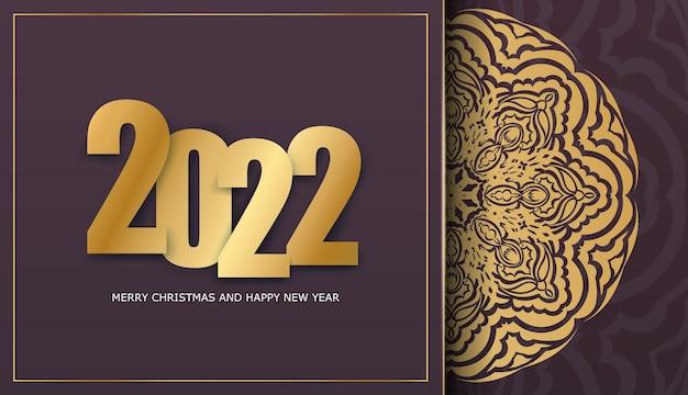 Holiday flyer 2022 buon natale color bordeaux con ornamenti invernali in oro