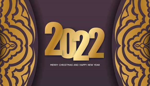Holiday flyer 2022 buon natale color bordeaux con motivo oro invernale