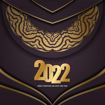 Holiday flyer 2022 buon natale e felice anno nuovo color bordeaux con ornamenti astratti in oro