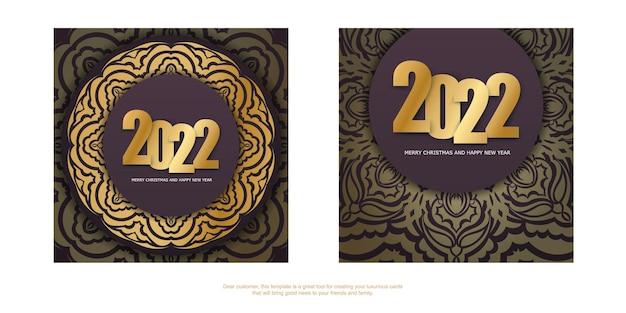 Holiday flyer 2022 buon natale e felice anno nuovo color bordeaux con ornamenti d'oro di lusso