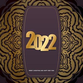 Holiday flyer 2022 buon natale e felice anno nuovo color bordeaux con ornamenti invernali in oro