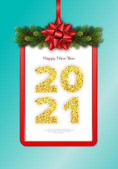 Carta regalo vacanza happy new year 2021 con ghirlanda di rami di abete, cornice rossa e fiocco