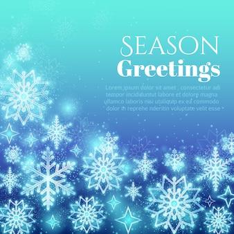 Fondo di saluto di festa con i fiocchi di neve. progettazione di neve invernale, ornamento glitter, illustrazione vettoriale