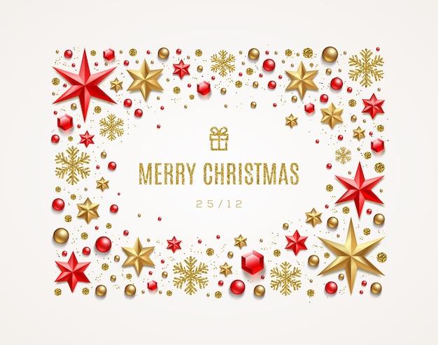 Illustrazione di saluto di festa. cornice realizzata con decorazioni natalizie.
