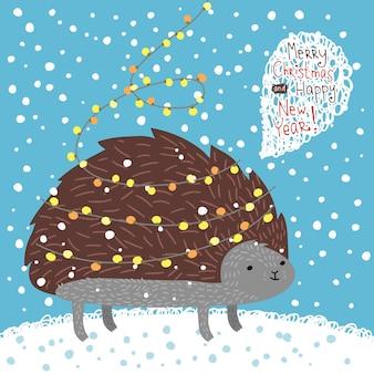 Illustrazione di vacanza con un simpatico riccio