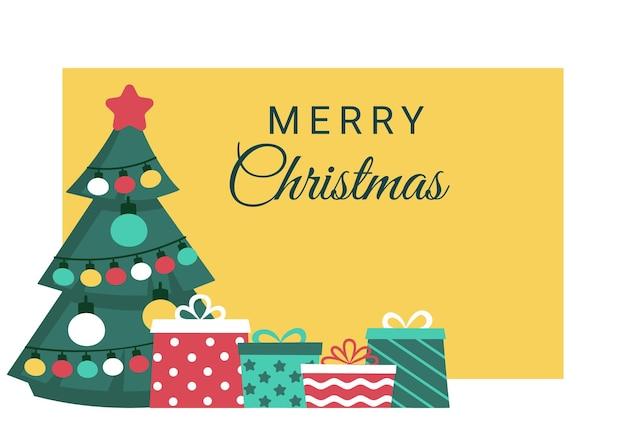 Vacanze marry christmas con striscione abete e regali acquisto di regali natale e capodanno