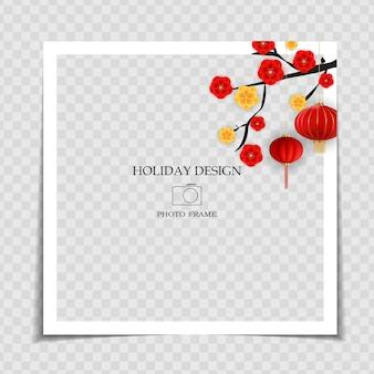 Modello di cornice per foto di vacanza. post sui social media del capodanno cinese