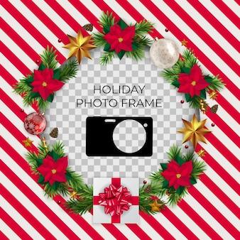 Modello di cornice per foto di vacanza. buon natale e felice anno nuovo sfondo.