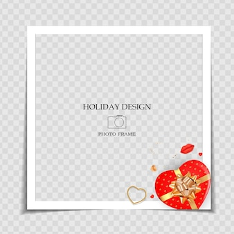 Modello di cornice per foto di vacanza. post sui social media di san valentino