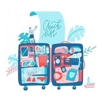 Pianificazione delle vacanze viaggia con una grande valigia.