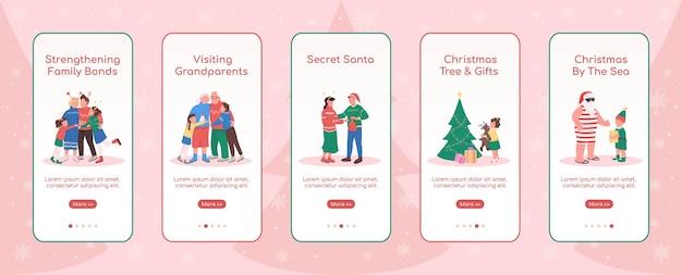 Modello piatto dello schermo dell'app mobile di onboarding delle festività natalizie christmas by sea procedura dettagliata del sito web con personaggi ux ui gui smartphone interfaccia dei cartoni animati case stampe impostate