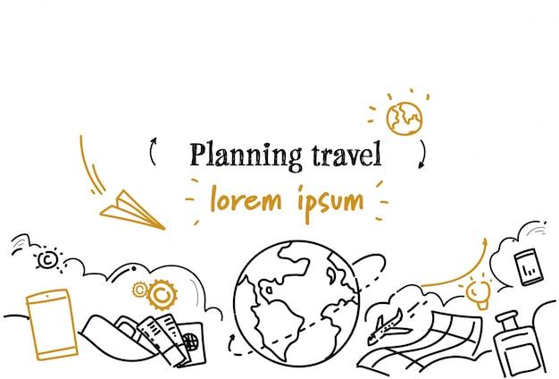 Modello orizzontale di viaggio pianificazione viaggio pianificato percorso vacante