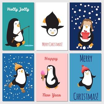Modello di biglietti di auguri di vacanze. illustrazione sveglia delle cartoline di natale dei pinguini