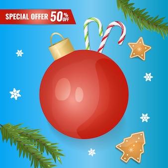 Banner di vendita di vacanze con decorazioni natalizie