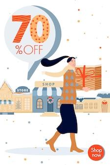 Vacanze shopping banner di vendita di natale e felice anno nuovo