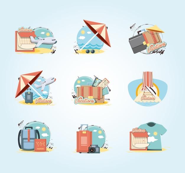 Vacanze vacanze set icone viaggio vettoriale ilustration