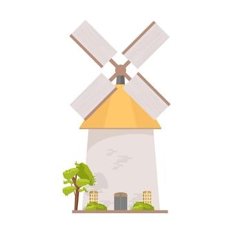 Mulino a vento dell'olanda isolato su bianco