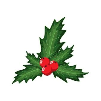 Bacche di agrifoglio. elemento di decorazione natalizia isolato su uno sfondo bianco.