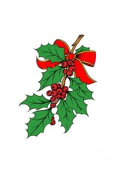 Illustrazione disegnata a mano di bacche di agrifoglio. illustrazione di vettore di natale e capodanno con nastro rosso