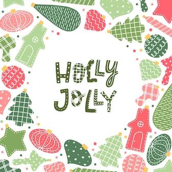 Holly jolly biglietto di auguri con scritte
