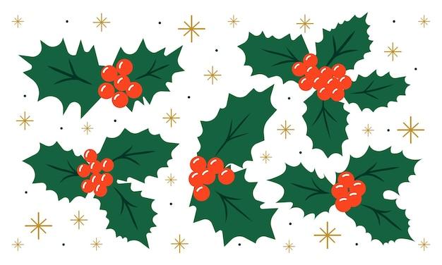 Set di agrifoglio per decorazioni natalizie per biglietti di auguri poster invitaton o stampe
