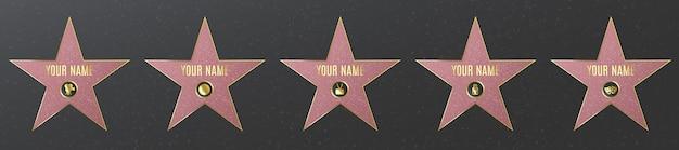 Fila di stelle di fama di celebrità di hollywood, realistiche su asfalto.