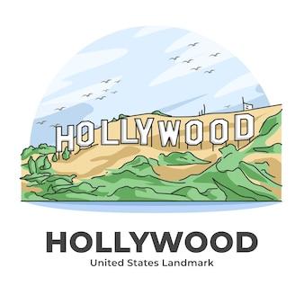 Illustrazione del fumetto minimalista del punto di riferimento degli stati uniti di hollywood