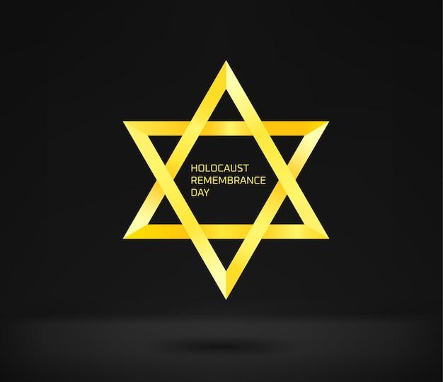 Concetto di giorno della memoria dell'olocausto. stella gialla sul nero