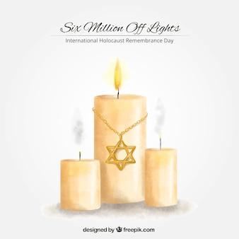 Olocausto giorno ricordo, candele dipinte a mano