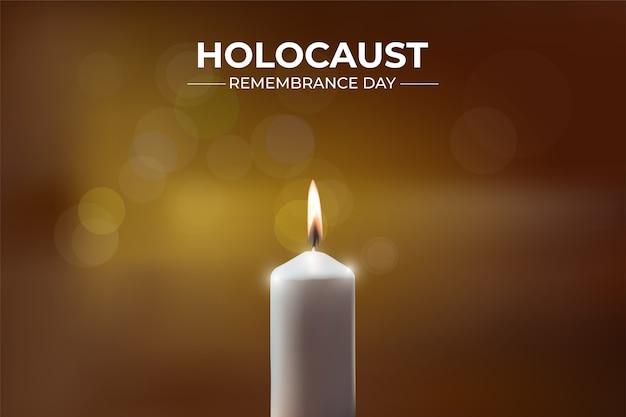 Giorno della memoria dell'olocausto con candela su bokeh.