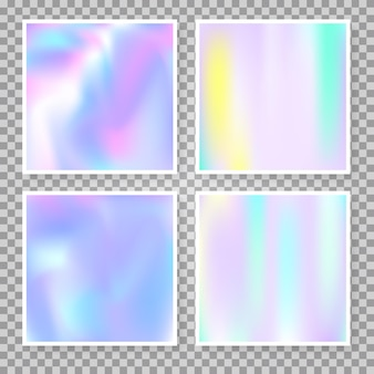 Set di sfondi astratti ologramma. sfondo sfumato alla moda con ologramma. stile retrò anni '90 e '80. modello grafico iridescente per banner, flyer, copertina, interfaccia mobile, app web.