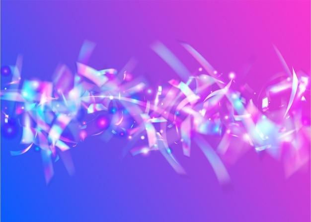 Sfondo ologramma. elemento di partito. arte glitterata. scintille di compleanno. cristal tinsel. illustrazione multicolore retrò. foglio luminoso. trama di sfocatura blu. sfondo viola ologramma