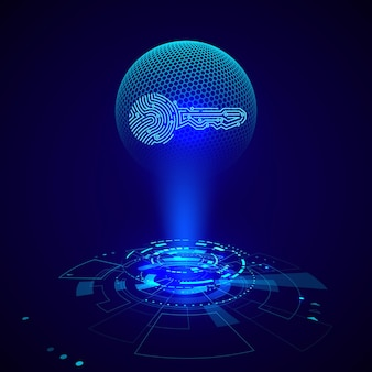 Ologramma dell'impronta digitale della chiave del circuito. elementi hud futuristici. interfaccia utente futuristica di fantascienza. illustrazione vettoriale