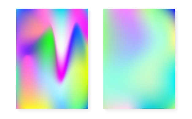 Sfondo sfumato ologramma impostato con copertina olografica. stile retrò anni '90 e '80. modello grafico iridescente per brochure, banner, carta da parati, schermo mobile. gradiente di ologramma minimo hipster.