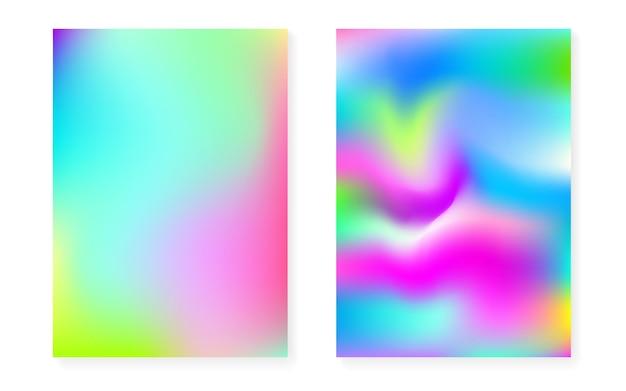 Sfondo sfumato ologramma impostato con copertina olografica. stile retrò anni '90 e '80. modello grafico iridescente per flyer, poster, banner, app mobile. gradiente di ologramma minimo colorato.