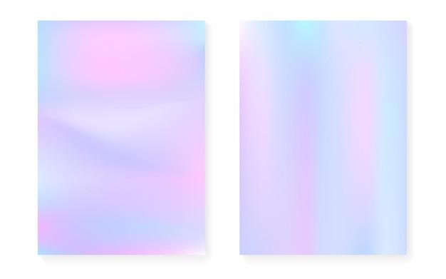 Sfondo sfumato ologramma impostato con copertina olografica. stile retrò anni '90 e '80. modello grafico perlescente per libro, annuale, interfaccia mobile, app web. gradiente di ologramma minimo luminoso.