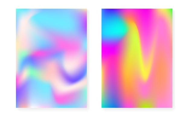 Sfondo sfumato ologramma impostato con copertina olografica. stile retrò anni '90 e '80. modello grafico perlescente per libro, annuale, interfaccia mobile, app web. gradiente di ologramma minimo hipster.