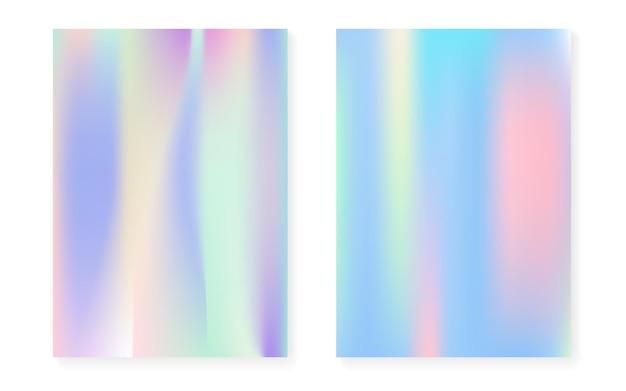 Sfondo sfumato ologramma impostato con copertina olografica. stile retrò anni '90 e '80. modello grafico perlescente per libro, annuale, interfaccia mobile, app web. gradiente di ologramma minimo arcobaleno.