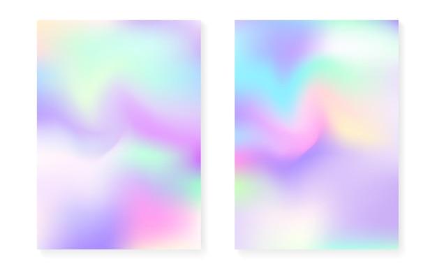Sfondo sfumato ologramma impostato con copertina olografica. stile retrò anni '90 e '80. modello grafico perlescente per brochure, banner, carta da parati, schermo mobile. gradiente di ologramma minimale futuristico.