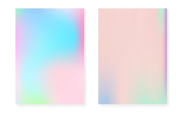 Sfondo sfumato ologramma impostato con copertina olografica. stile retrò anni '90 e '80. modello grafico perlescente per brochure, banner, carta da parati, schermo mobile. gradiente ologramma minimo al neon.