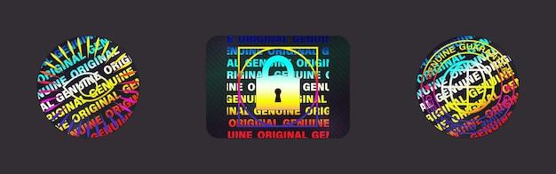 Set di etichette ologramma isolato. collezione di adesivi olografici vettoriali. sigillo con ologramma geometrico per garanzia del prodotto, design adesivo. simbolo di certificazione del prodotto. set di adesivi olografici di qualità.