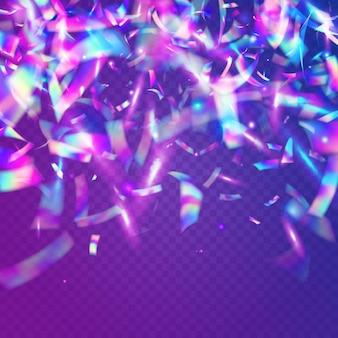 Scintille di ologramma. bagliore olografico. laser celebrare la luce del sole. arte di fantasia. sfondo festa viola. effetto di caduta. prisma di sfocatura. foglio di lusso. scintille con ologramma viola