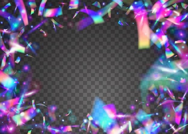 Trama di ologramma. coriandoli olografici. elemento laser. effetto arcobaleno. gradiente prismatico brillante shin