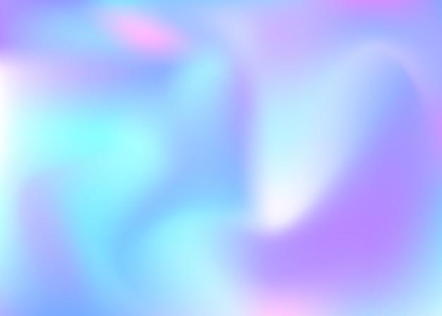 Sfondo astratto olografico. sfondo olografico luminoso con maglia sfumata. stile retrò anni '90 e '80. modello grafico perlescente per libro, annuale, interfaccia mobile, app web.