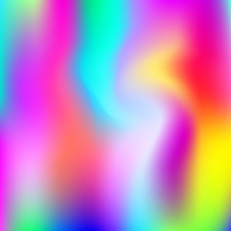 Sfondo astratto olografico. sfondo olografico futuristico con maglia sfumata. stile retrò anni '90 e '80. modello grafico iridescente per banner, flyer, design di copertina, interfaccia mobile, app web.